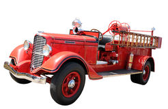 Vintage fire truck. Isolated with clipping path stock photography