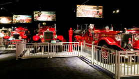 Vintage fire trucks on display in museum. Royalty Free Stock Photos