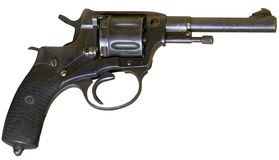 Vintage firearm revolver. Isolated rusty obsolete vintage firearm revolver Royalty Free Stock Photography