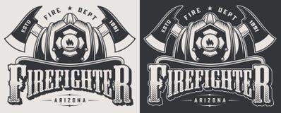 Vintage firefighting emblems stock illustration