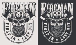Vintage firefighter emblems vector illustration