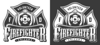 Vintage firefighter logos vector illustration