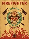 Vintage Firefighter Poster. With skull in helmet flame laurel wreath and crossed axes vector illustration Stock Image