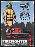 Vintage Firefighting Colorful Poster. With fireman in uniform fire engine megaphone and hydrant vector illustration Stock Photography