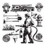 Vintage Firefighting Elements Set Stock Images