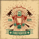 Vintage Firefighting Label. With fireman rescue mask crossed axes and ribbon  vector illustration Royalty Free Stock Photography