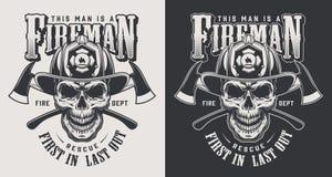 Vintage firefighting logotype concept. Vintage firefighting logotypes concept with crossed axes and skull wearing fireman helmet in monochrome style isolated royalty free illustration