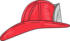 Vintage Fireman Firefighter Helmet Drawing. Drawing sketch style of a vintage fireman fire fighter helmet viewed from the side set on isolated white background Stock Image
