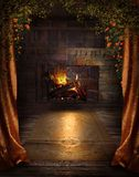 Vintage fireplace Stock Images