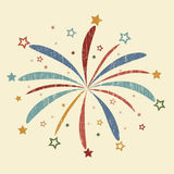 Vintage Firework illustration. Vintage Firework with red, blue and yellow stars, grunge design, star burst, holiday explosion Royalty Free Stock Photo