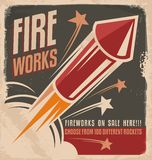 Vintage fireworks poster design Stock Photo