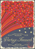 Vintage fireworks poster design. Retro flyer Royalty Free Stock Photography