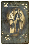 Vintage First World War postcard Royalty Free Stock Photos