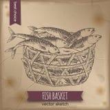 Vintage fish basket sketch Royalty Free Stock Photos