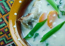 Vintage Fish soup in Galichyna Stock Images