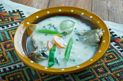 Vintage Fish soup in Galichyna Stock Image