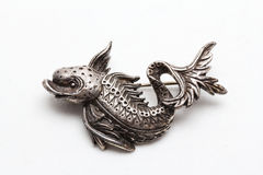 Vintage fish styled pewter brooch Stock Images