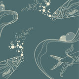 Vintage fish and wive ornamental stripes Royalty Free Stock Photos
