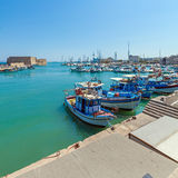 Vintage Fishing Boats at Heraklion Bay, Crete Stock Images