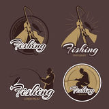 Vintage fishing club vector emblems and labels Stock Photography