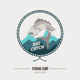 Vintage fishing label badge, poster template or logo. Royalty Free Stock Photography