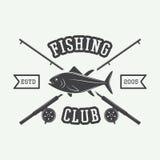 Vintage fishing label, log, badge. Royalty Free Stock Photo