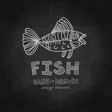 Vintage Fishing Label and Stamp. Hand drawn design. Element in chalkboard style. Vector illustration Stock Photo