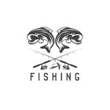 Vintage fishing vector design template with abstract Stock Image