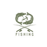 Vintage fishing vector design template with abstract Royalty Free Stock Photos