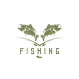 Vintage fishing vector design template Royalty Free Stock Photos