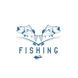 Vintage fishing vector design template Stock Photography