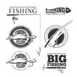 Vintage fishing vector labels, logos, emblems set Stock Photos