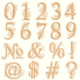 Vintage fishnet floral numeric figures. Set of fishnet lace font with numeric figures and additional signs Stock Image