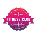 Vintage Fitness club logo, vector badge, emblem Stock Image