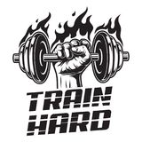 Vintage fitness logotype template. With strong man hand holding fiery dumbbell isolated vector illustration Stock Photo