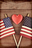 Vintage Flags and Heart Stock Images