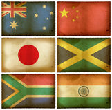 Vintage flags set mix vector illustration