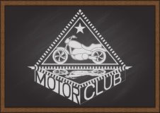 Vintage flat looking motorcycle and inside triangle frame with shadow and typography MOTOR CLUB on chalkboard Stock Photo