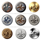 Vintage Fleur de Lis circles jewelry Royalty Free Stock Photo