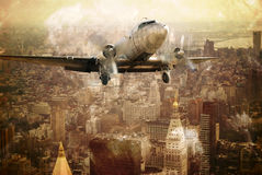 Vintage flight. Vintage plane flies close to Manhattan buildings. On grunge sepia background