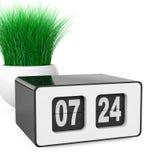 Vintage Flip Clock com grama no plantador branco da cerâmica 3d arrancam Imagens de Stock Royalty Free