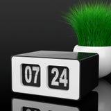 Vintage Flip Clock com grama no plantador branco da cerâmica 3d arrancam Fotos de Stock Royalty Free