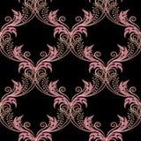 Vintage floral arabesque vector seamless pattern. Ornamental Damask background. Elegance pink flowers with gold outline. Beautiful vector illustration