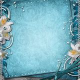 Vintage Floral Background. With Lilies Royalty Free Stock Photos