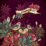 Vintage floral background with birds Royalty Free Stock Image