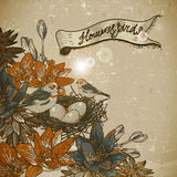 Vintage floral background with birds Royalty Free Stock Photo