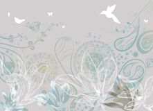 Vintage floral background with butterflies and hum Stock Image