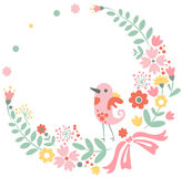 Vintage floral background with cute bird in pastel Royalty Free Stock Photography