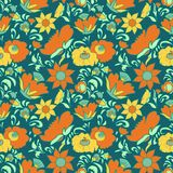 Vintage floral background Flowers folk art style Fabulous ethnic pattern blue color Doodles and Paisley Turkish cucumbers Royalty Free Stock Image