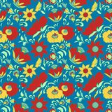 Vintage floral background Flowers folk art style Fabulous ethnic pattern blue color Doodles and Paisley Turkish cucumbers Royalty Free Stock Photos